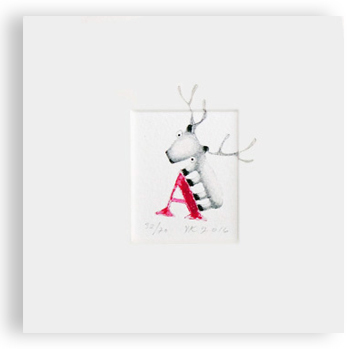 """A"" with reindeer (red)"
