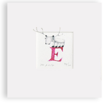"""E"" with reindeer (red)"