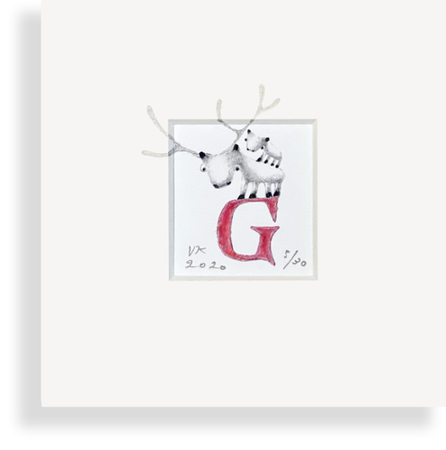 """G"" with reindeer (red)"